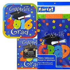 Graduation Party Kit 2016 Plates, Nap… Party Kit, Party Packs, Graduation, Plates, Plastic Tablecloth, Licence Plates, Dishes, Griddles, Moving On