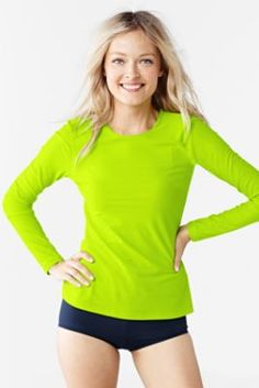 4443ee1a Women's Swim Tee Rash Guard - Neon Solid from Lands' End - PINK Lands End