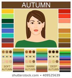 Stock vector Seasonal color analysis palette for soft, warm and deep autumn. Set of three autumn types of female appearance. Face of young woman Dark Autumn, Deep Winter, Deep Autumn Color Palette, Skin Logo, Colors For Skin Tone, Hair Colors, Seasonal Color Analysis, Autumn Clothes, Color Me Beautiful