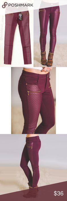 """Wine/ Burgundy Skinny Quilted, Zippered Chic Pants ❤️ BUNDLES  ❤️ DISCOUNTS  ❌ NO TRADES  ❌ NO Low balling!   • NWT •   - Quilted Front - Zippered pockets - Skinny - Ankle crop • * MEASUREMENTS: - Size: S - Inseam: 28.5"""" Approx - Outseam: 35.75"""" Approx - Rise: 8"""" Approx - Waist: 27"""" Approx • - Size: M - Inseam: 28.75"""" Approx - Outseam: 37"""" Approx - Rise: 8.25"""" Approx - Waist: 28"""" Approx • - Size: L - Inseam: 29"""" Approx - Outseam: 37.5"""" Approx - Rise: 8.6"""" Approx - Waist: 29"""" Approx (*Pant…"""