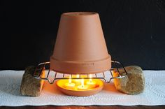 Make an emergency space heater out of 4 beeswax tea light candles. #pioneercandle #beeswaxcandles