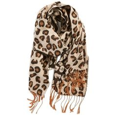 Junior BP Leopard Print Fringe Oblong Scarf found on Polyvore featuring  accessories, scarves, brown 1e0c504a4cf