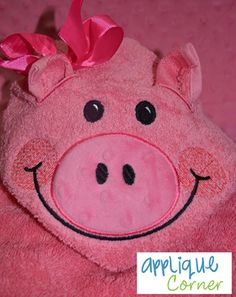This is Sew darn cute....Pig hoodie towel  Machine Embroidery project .