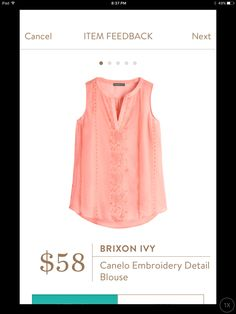 Brixon Ivy Canelo Embroidery Detail Blouse - Dear Stitch Fix Stylist, Love the embroidery detail, the split neckline and the rounded hem at the waistline which at least gives the illusion of a longer top that covers the tummy.