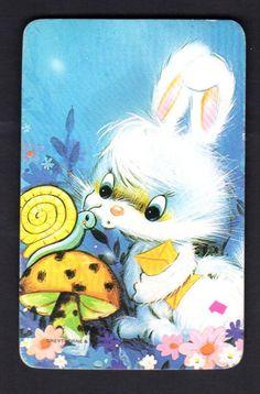Vintage Swap Card - Cute Bunny & Snail (BLANK BACK)