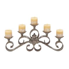 Metal Candelabra.  Display it with lit candles inside the fireplace during the summer for a lovely visual without the heat of a log fire.