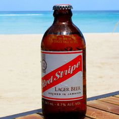 Jamaican famous beer! Red Stripe, you got to try it! #SevenMileBeach