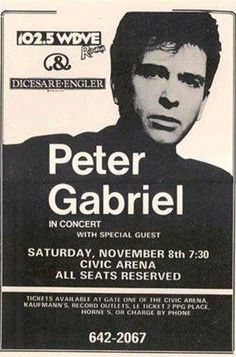 Peter Gabriel Pittsburgh, PA Civic Arena November 8 LIVE 11x17 Rare Very Limited Concert Poster Print Only One on Amazon by Mypostergallery, http://www.amazon.com/dp/B007R5Y3RC/ref=cm_sw_r_pi_dp_JipQrb08M8XJV