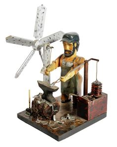 Outsider Art - John Bambic-Blacksmith Whirligig-Carved : Lot 95
