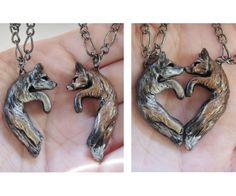 A perfect gift for the fox and wolf lover in your life! Two necklaces, perfect for any couple, that come together to kiss and form a heart.