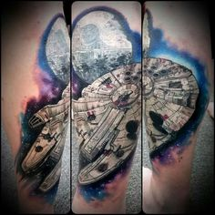 Rule the skies of Star Wars with the top 50 best Millennium Falcon tattoo designs for men. Explore cool intimidating vessel and spacecraft ink ideas. Top Tattoos, Sleeve Tattoos, Tatoos, Nerdy Tattoos, Space Tattoos, Tattoo Arm, Falke Tattoo, Star Wars Zeichnungen, Star Wars Drawings