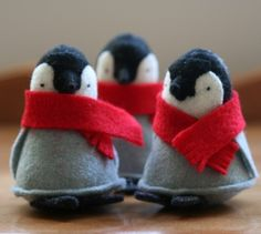 christmas ideas: christmas felt penguin with red scarf 1 gnome (your choice of colour green, red or blue) felt christmas trees from allthi Felt Crafts, Holiday Crafts, Diy And Crafts, Felt Penguin, Craft Projects, Sewing Projects, Craft Ideas, Felt Christmas Ornaments, Penguin Ornaments
