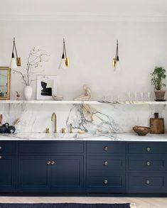 Home Decor Kitchen, Kitchen Interior, Home Kitchens, Kitchen Sink, Kitchen Cabinetry, Kitchen Counters, Kitchen Fixtures, Navy Blue Kitchen Cabinets, Kitchen Wall Units