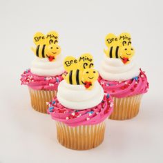 Bee My Valentine cupcake toppers! Bakery Crafts, Be My Valentine, Cupcake Toppers, Bee, Cakes, Desserts, Food, Tailgate Desserts, Honey Bees
