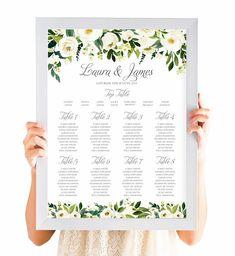White Floral Wedding Table Plan, Seating Plan, Seating chart, Watercolour Flowers, Greenery Wedding, Ivory Wedding, A2 Printed or PDF