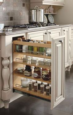 Love this Diamond kitchen cabinet storage idea! Excellent way to keep frequently used items organized and close at hand. #DiamondRoomMakeover