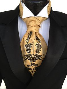 Beer ascot. Self tie mens cravat tie. Screenprinted formal ascot. Your choice of colors.