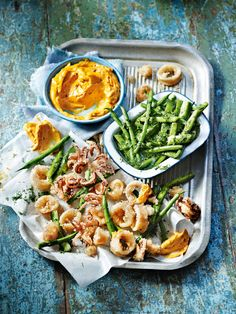 Crispy squid with pickled beans and harissa mayonnaise recipe. A beautifully light and summery snacking dish, perfect for casual get-togethers. The harissa mayo makes it. Calamari Recipes, Squid Recipes, Fish Recipes, Tapas Recipes, Seafood Recipes, Cooking Recipes, Healthy Recipes, Cheese Recipes, Healthy Meals
