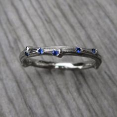 Blue Sapphire Twig Wedding Band, 5 Ceylon Blue Sapphires - Kristin Coffin Jewelry