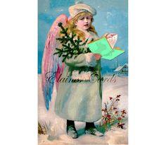 Digital Art CHRISTMAS Victorian Angel Greetings Card, for Collage, Scrapbooking, Christmas Cards, Ephemera, Vintage Christmas Angels, Christmas Cards, Guardian Angels, Fallen Angels, Victorian Angels, Chris Johnson, Nature Paintings, Digital Art, Digital Image