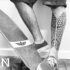 Geometric leg sleeve to my bro Alon ✔ DONE #inkstinctsubmission