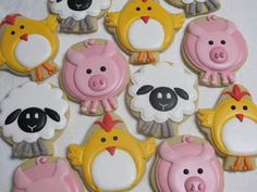 Items similar to Farm Animals Sugar Cookies Set - Barnyard or Petting Zoo Theme Party Favors, Chicken, Sheep, Pig on Etsy Chocolate Sugar Cookie Recipe, Iced Sugar Cookies, Farm Cookies, Easter Cookies, Zoo Party Themes, Petting Zoo Party, Barn Animals, Barnyard Animals, Farm Birthday
