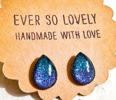 purple and teal mermaid teardrop earrings