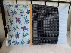 Pillowcases, Sleepover pillowcase, boys pillowcase, robot, gingham, spots, individual, Personalised, carrycase,  handmade pillowcases by beadiesbyjo on Etsy