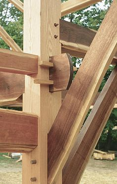 Timber frame joinery in cherry and oak