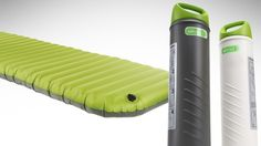 The AeroBed PakMat Sleep System rolls right up and fits in a plastic container… that also happens to be the pump