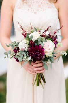 Pink and burgundy bridesmaid bouquet. Pink and burgundy bridesmaid bouquet. Event Design & Coordination by Greg Boulus Events, based out of Augusta, GA. Photography by Lauren Carnes Photography. Small Wedding Bouquets, Burgundy And Blush Wedding, Maroon Wedding, Fall Wedding Flowers, Burgundy Flowers, Wedding Flower Arrangements, Bride Bouquets, Bridal Flowers, Flower Bouquet Wedding