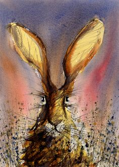 Hare Portrait, Signed Print of a Watercolour Painting, Wildlife Art, Animal Painting. via Etsy. Spence Spence - Made me think of Joe. Rabbit Pictures, Watercolour Painting, Watercolours, Painting Art, Portrait Watercolour, Rabbit Art, Bunny Rabbit, Bunny Art, Wildlife Art