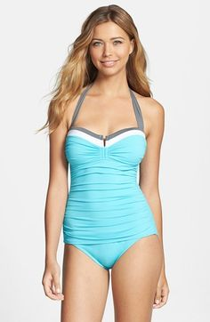 Tommy Bahama 'Deck Piping' Shirred One-Piece Swimsuit available at #Nordstrom