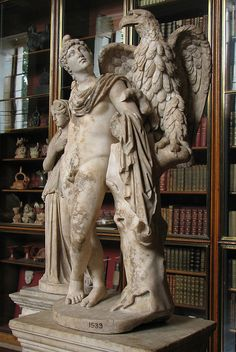"""Zeus & Ganymede at the British Museum. _____ """"The king of the Trojans had three noble sons, Ilus, Assaracus, and Ganymede who was the comeliest of mortal men; wherefore the gods carried him off to be Zeus' cupbearer, for his beauty's sake, that he might dwell among the immortals."""" - Homer, The Iliad"""