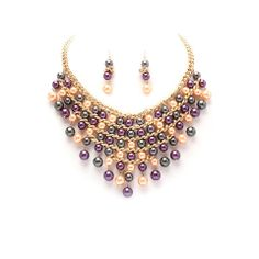 Multicolor Faux Pearl Statement Necklace Set #thealchemyshop #style #fashion #jewelry #accessories