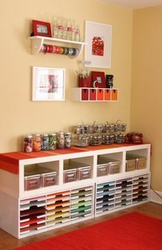 Scrapbook room organization Would LOVE to have a room like this Craft Room Storage, Craft Organization, Craft Rooms, Storage Ideas, Storage Shelving, College Organization, Organizing Tips, Space Crafts, Home Crafts