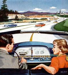 Highway Driving In The Future, 1956. GM Motorama Exhibit 1956. https://www.youtube.com/watch?v=Rx6keHpeYak&safe=active http://paleofuture.gizmodo.com/a-family-of-singing-time-travelers-drive-the-highways-o-1524594799