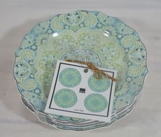 222 Fifth Lyria Teal Fine China Porcelain Appetizer Plates Set of Four New #222Fifth