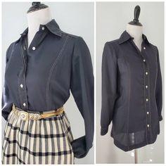 Vintage Black Blouse with Pearl Buttons  Black Neck Tie Button Up Shirt  Black Blouse with Attached Neck Wrap  Black Blouse Size 38