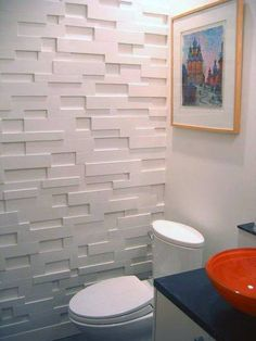 DIY Modular Wall Treatment LOVE this DIY wall - MDF strips of different lengths and thicknesses created dimensional, textured wall.LOVE this DIY wall - MDF strips of different lengths and thicknesses created dimensional, textured wall. Mod Wall, Modular Walls, Diy Wand, 3d Wall Panels, Panel Walls, Wall Treatments, Diy Wall Art, Textured Walls, Wall Design