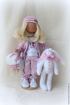 Купить Текстильная кукла NELLY - бледно-сиреневый, куколка, спортивный стиль, спортсменка, интерьерная кукла
