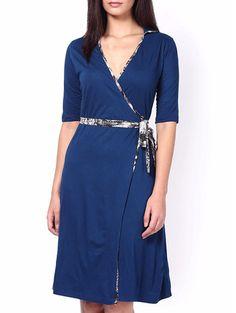 Buy Kaaryah Navy Blue Viscose Jersey Printed Wrap Dress Online, , LimeRoad