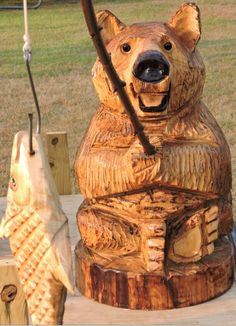 Happy Fishing Bear, Chainsaw Carving, Lawn Decoration, Chainsaw Art, Wood Statue, Carving, Yard Decoration