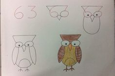 Step by step simple drawings using the alphabet and numbers