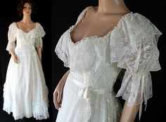 Southern Belle Wedding Gown Reenactment Dress White Lace Vintage Wedding by PetticoatsPlus on Etsy
