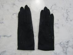 """Vintage 1950's Unused?? Simple Black Open Weave Mesh 8"""" Wrist Length Evening Gloves  ---Size 6 to 6 1/2--Auction #1525 by PrimaMona on Etsy"""
