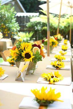 Sunflowers on napkins and sumflowers wedding centerpiece / http://www.deerpearlflowers.com/sunflower-wedding-ideas-and-wedding-invitations/2/