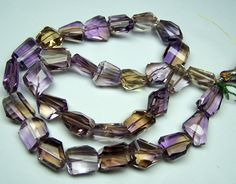 Unique 317 Cts Natural Ametrine (Amethyst & Citrine Bio) Faceted Tumble/Nugget Beads - Full 18 inch Strand