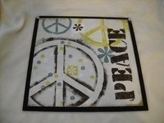"""Peace Sign with Flowers Lime Blue Black Teen Girls Room Bedroom Decor Signs Art by The Little Store Of Home Decor. $12.99. size 13x13. made in the USA. We've sealed this fun Peace print onto wood giving it a framed appearance. The background wood is painted black and it measures approximately 13"""" squared by 1/4"""" thick (wood dimensions not including hanger). We've added a white ribbon for easy hanging and added charm. Save 35%!"""
