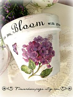 Personalized flower pot hydrangeas decor decoupage